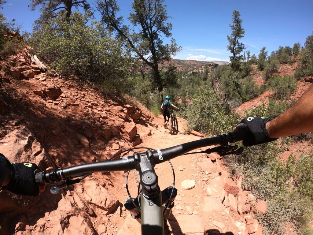 mountain bike handlebar view on a trail on sedona